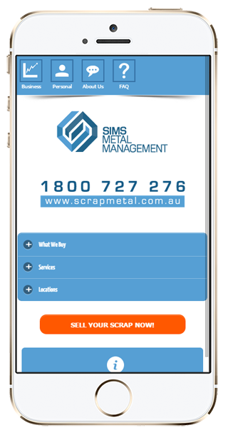 Mobile website | Sims Metal